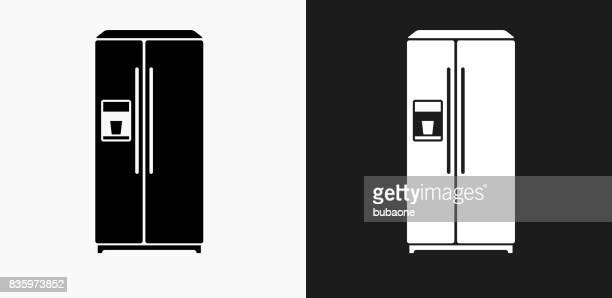 黒と白のベクトルの背景の冷蔵庫アイコン - 冷蔵庫点のイラスト素材/クリップアート素材/マンガ素材/アイコン素材