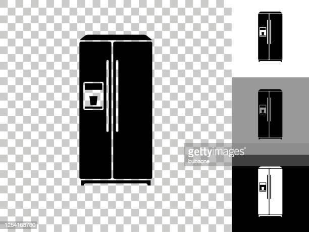 チェッカーボードの透明な背景の冷蔵庫アイコン - 冷蔵庫点のイラスト素材/クリップアート素材/マンガ素材/アイコン素材