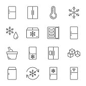 Refrigerator set of vector icons line style