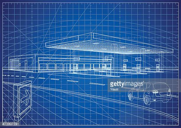 refueling station blueprint - fuel station stock illustrations, clip art, cartoons, & icons