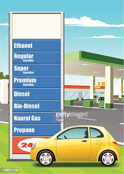 refueling station price board - fuel station stock illustrations, clip art, cartoons, & icons