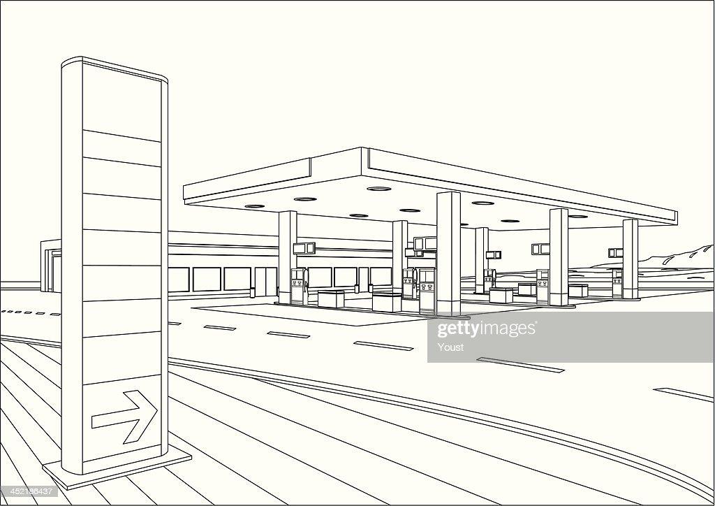 Refueling Station Sketch : stock illustration