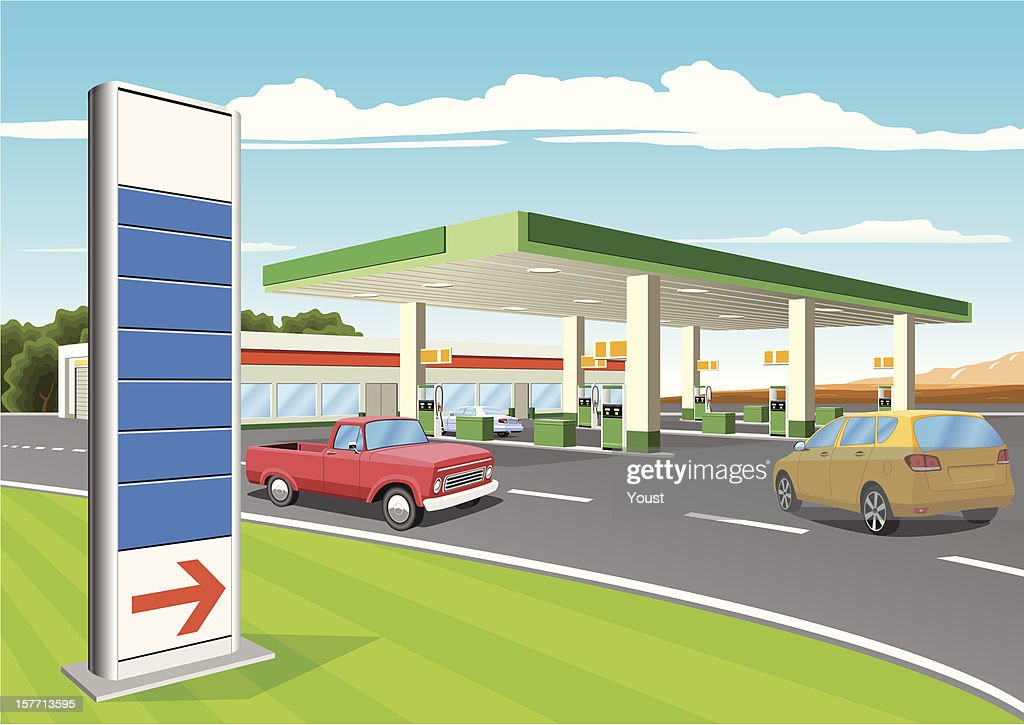 Refueling Station with Gas Prices Sign : stock illustration
