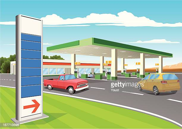 refueling station with gas prices sign - fuel pump stock illustrations, clip art, cartoons, & icons