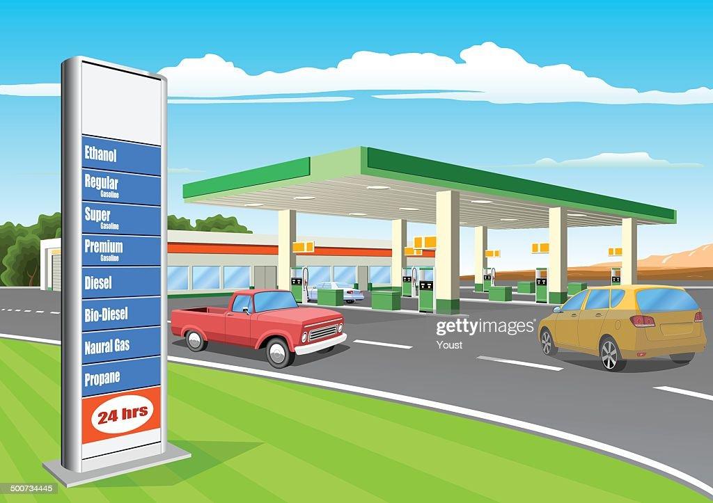 Estação de reabastecimento com placa de preços da gasolina : Ilustração