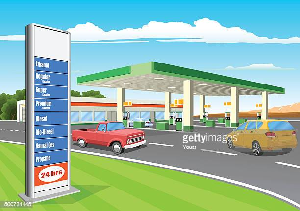 refueling station with gas prices sign - fuel station stock illustrations, clip art, cartoons, & icons