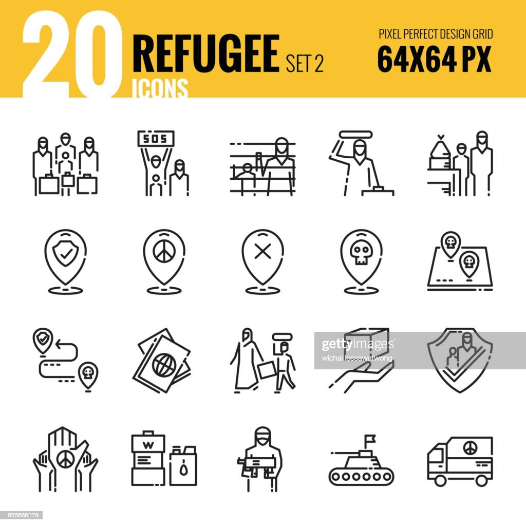 Refugee and immigration icon set 2.