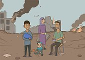 Refugee family in the background of the ruined city. Vector illustration.