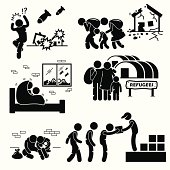 Refugees Evacuee War Pictogram Cliparts