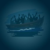 Refugees on a boat on the stormy sea in shilluate style, move to better life concept - vector