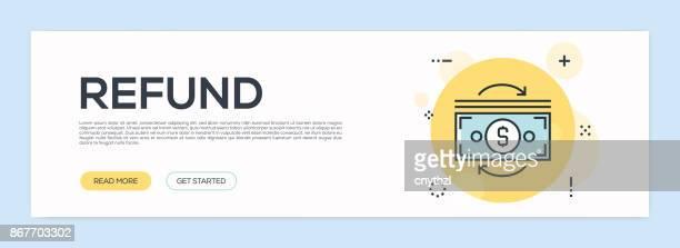 Refund Concept - Flat Line Web Banner