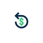 Refund money icon. Chargeback contour sign. quick fund cash back symbol. Currency exchange refinance. Return on investment. stock market business. Vector line illustration.
