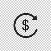 Refund money icon isolated on transparent background. Financial services, cash back concept, money refund, return on investment, savings account, currency exchange. Flat design. Vector Illustration