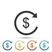 Refund money icon isolated on white background. Financial services, cash back concept, money refund, return on investment, savings account, currency exchange. Flat design. Vector Illustration