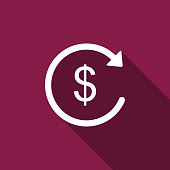 Refund money icon isolated with long shadow. Financial services, cash back concept, money refund, return on investment, savings account, currency exchange. Flat design. Vector Illustration