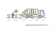 Refuse vehicle with dustbins vector illustratio
