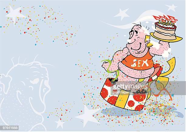 regalo sorpresa de cumpleaños - stag night stock illustrations, clip art, cartoons, & icons