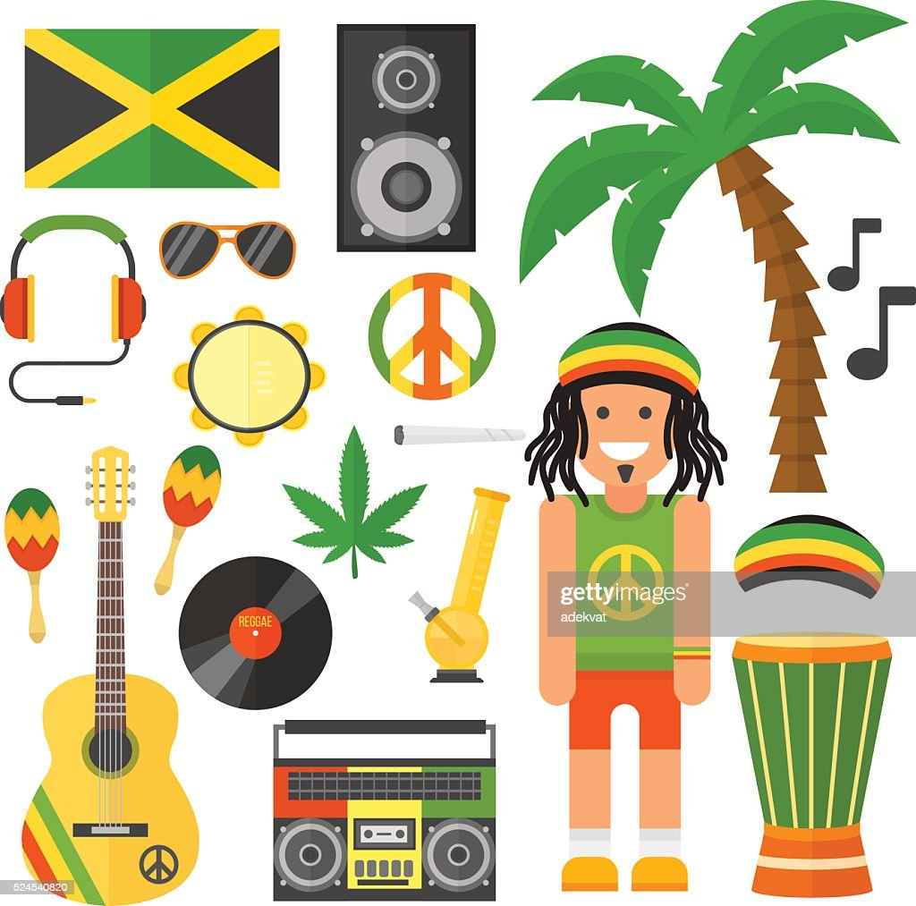 Reggae artist musical instrument and rastafarian elements collection vector illustration