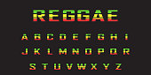 reggae  color font. Jamaica style ABC letters  vector illustration