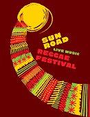 reggae music classic color concept poster.