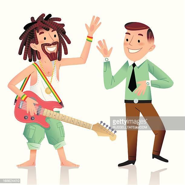 reggae party at the office - rastafarian stock illustrations, clip art, cartoons, & icons