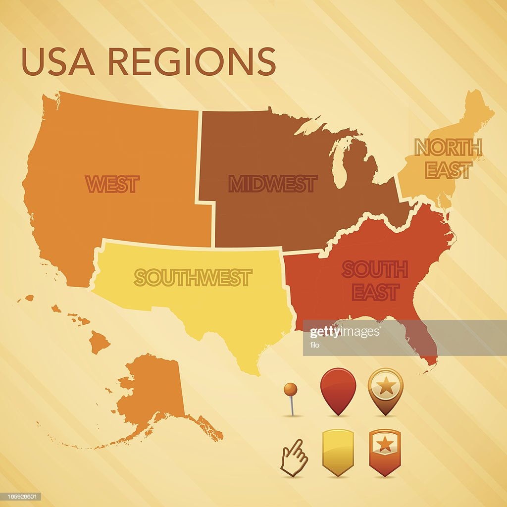 Map Of The Usa Vector Illustration Vector Art Getty Images