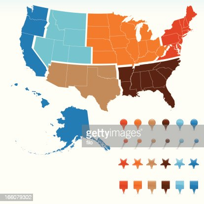 Usa Region Map Vector Art Getty Images - Outline Map Of West Region Of Us