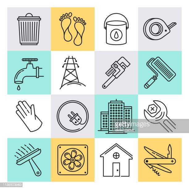 illustrations, cliparts, dessins animés et icônes de ensemble d'icônes vectorielles de style contour de développement régional et de règlement - village