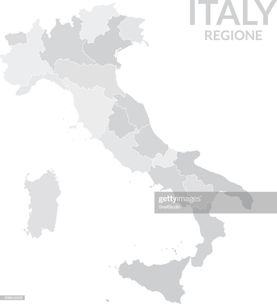 Regions map of Italy gray