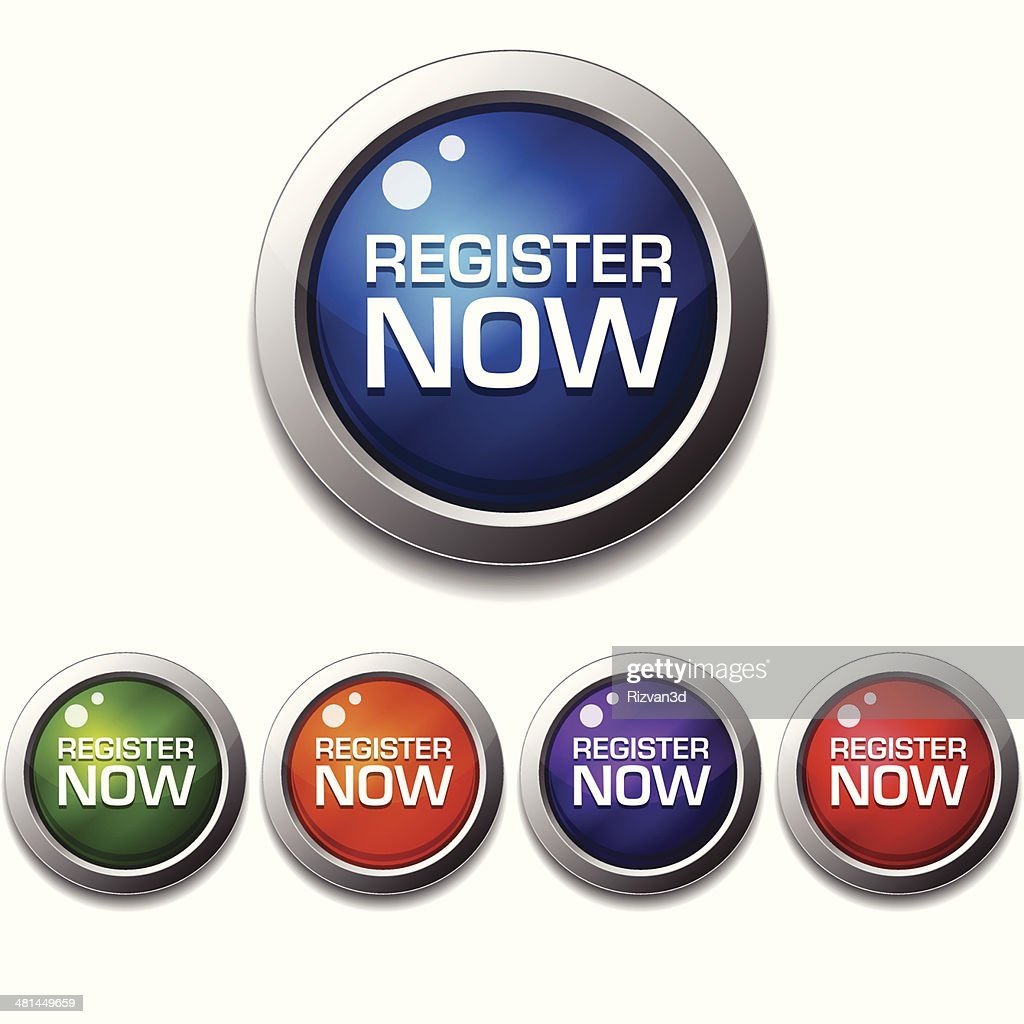 Register Now Glossy Shiny Circular Vector Button