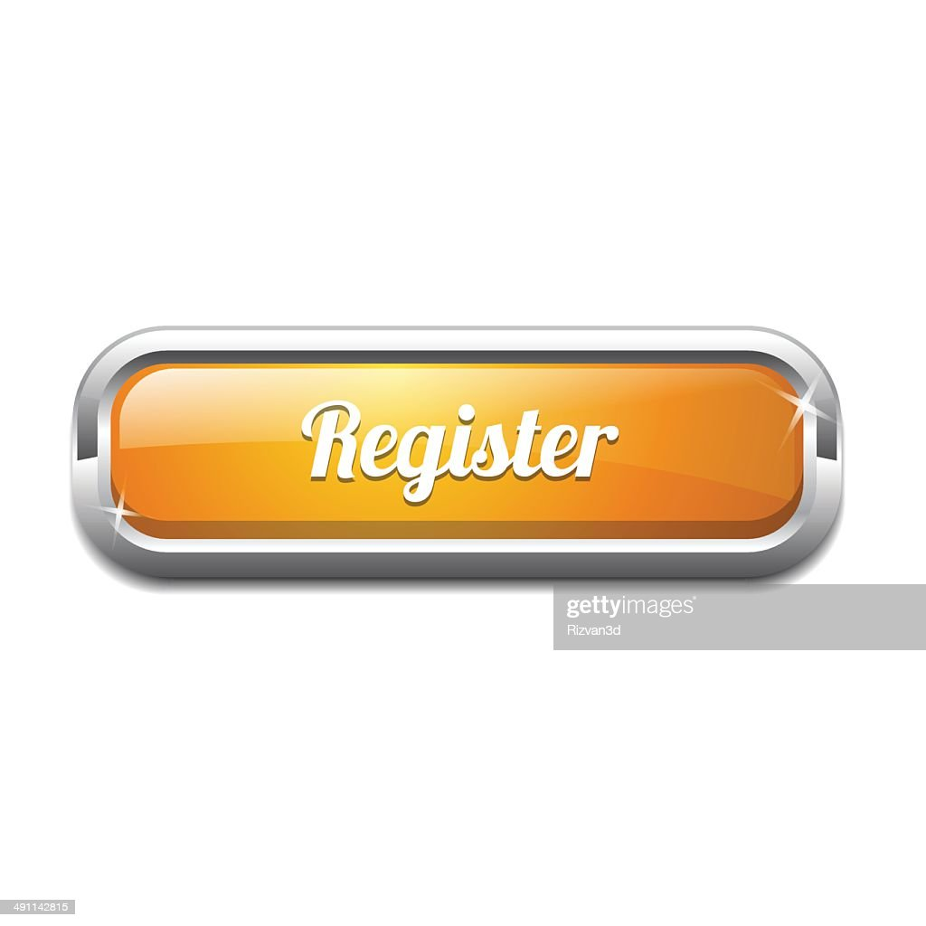 Register Now Glossy Shiny Rectangle Vector Button