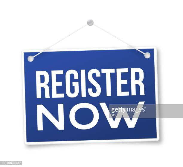register now sign - urgency stock illustrations