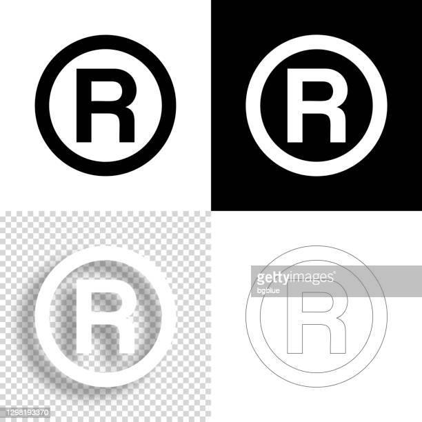 登録商標。デザイン用アイコン。空白、白、黒の背景 - ラインアイコン - 知的財産点のイラスト素材/クリップアート素材/マンガ素材/アイコン素材
