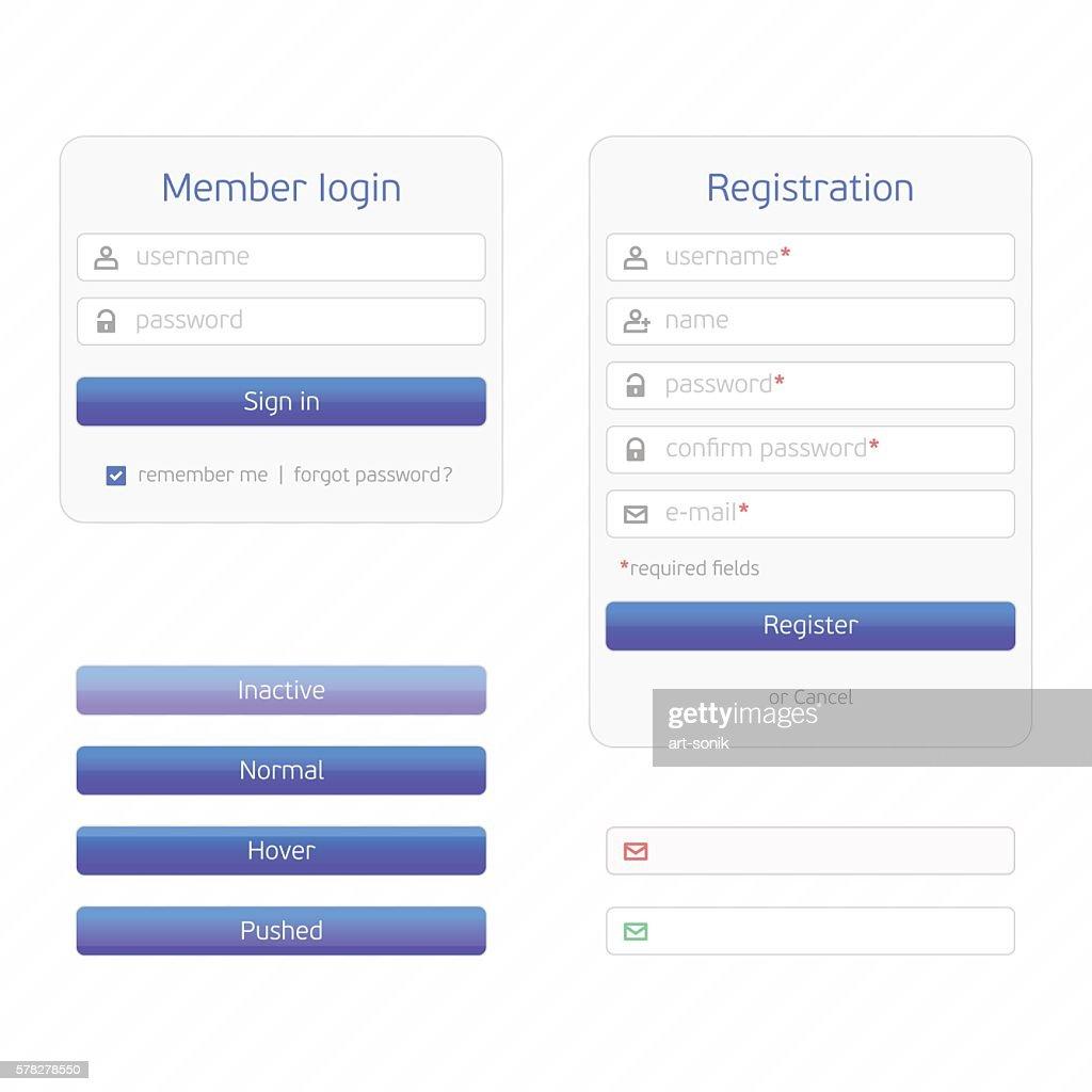Registration form and login