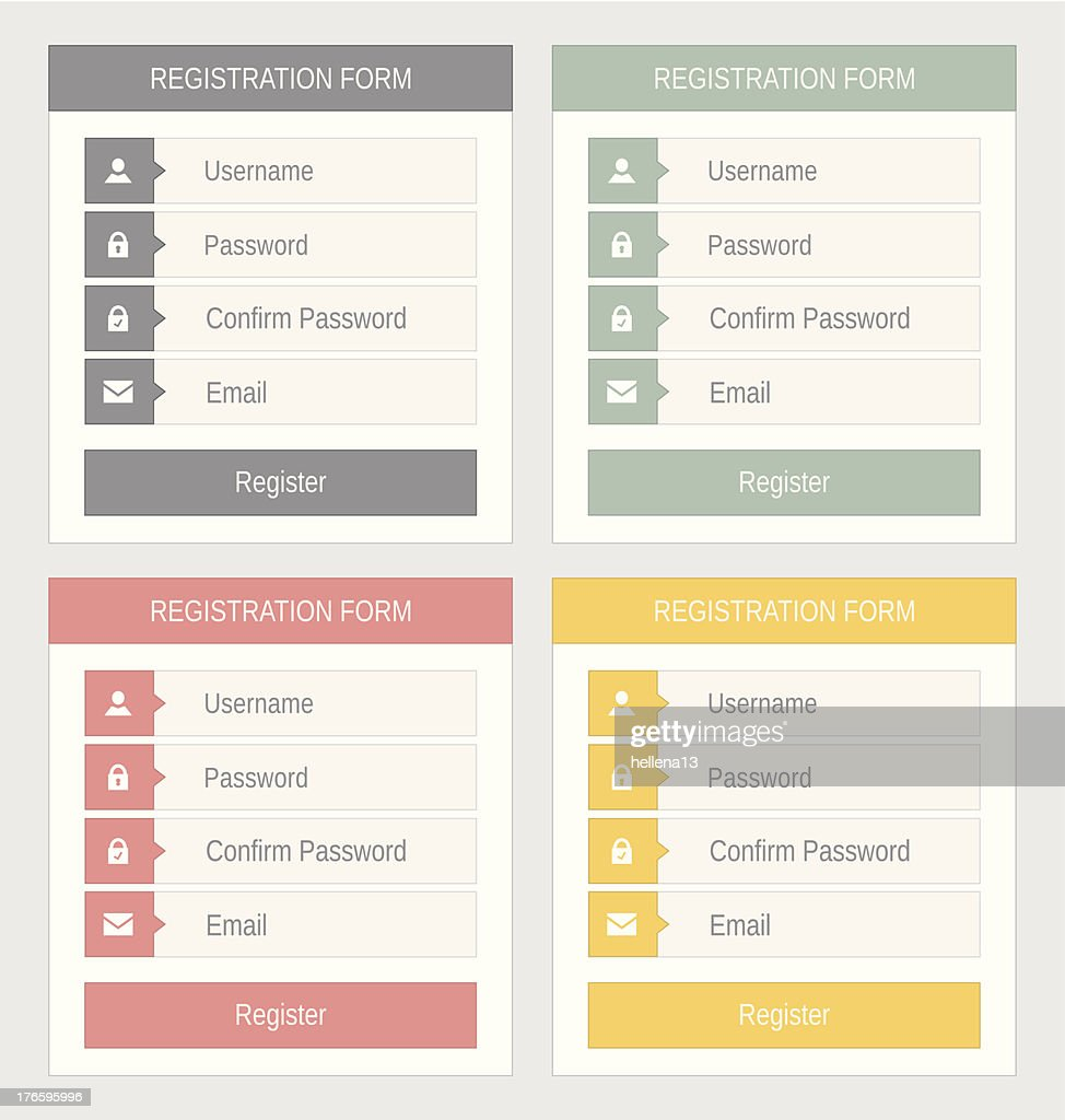 Registration form, flat design