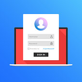 Registration page on laptop screen. Notebook and online login form, sign in page. User profile, credentials, user account, verification page, access to account concepts. Modern flat design graphic elements. Long shadow design. Vector illustration