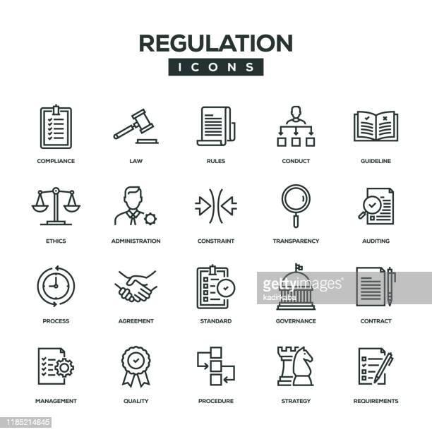 regulation line icon set - instructions stock illustrations