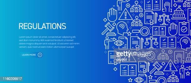 illustrations, cliparts, dessins animés et icônes de réglementation banner template avec des icônes de ligne. illustration moderne de vecteur pour la publicité, l'en-tête, le site web. - droit