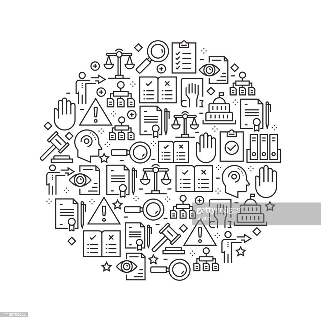 Regulations Concept - Black and White Line Icons, Arranged in Circle : stock illustration