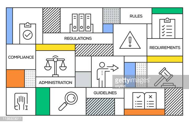 regulations concept. geometric retro style banner and poster concept with regulations line icons - office safety stock illustrations, clip art, cartoons, & icons