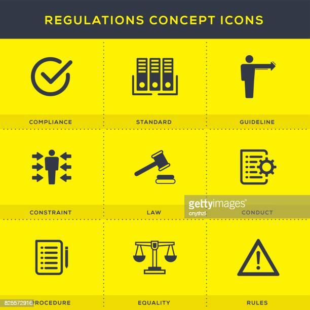 regulations concept icon set - office safety stock illustrations, clip art, cartoons, & icons