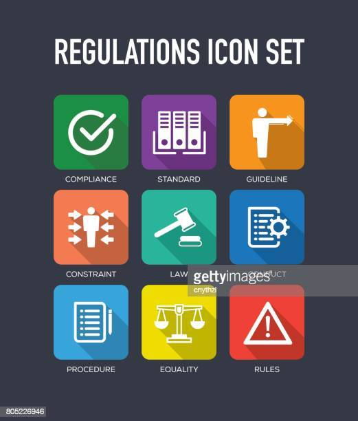regulations flat icon set - office safety stock illustrations, clip art, cartoons, & icons