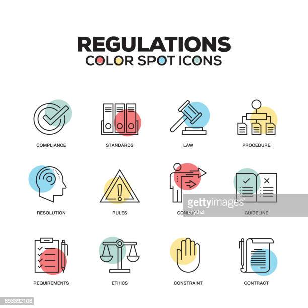 Regulations icons. Vector line icons set. Premium quality. Modern outline symbols and pictograms.
