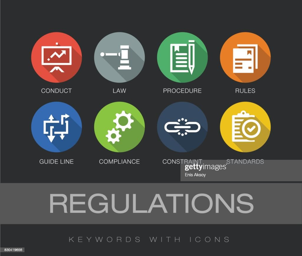 Regulations keywords with icons : stock illustration