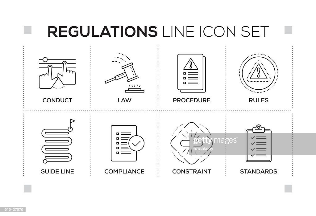 Regulations keywords with monochrome line icons