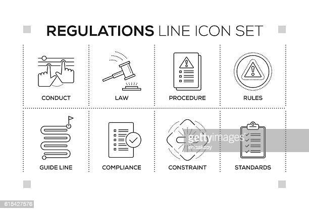 illustrations, cliparts, dessins animés et icônes de regulations keywords with monochrome line icons - imitation