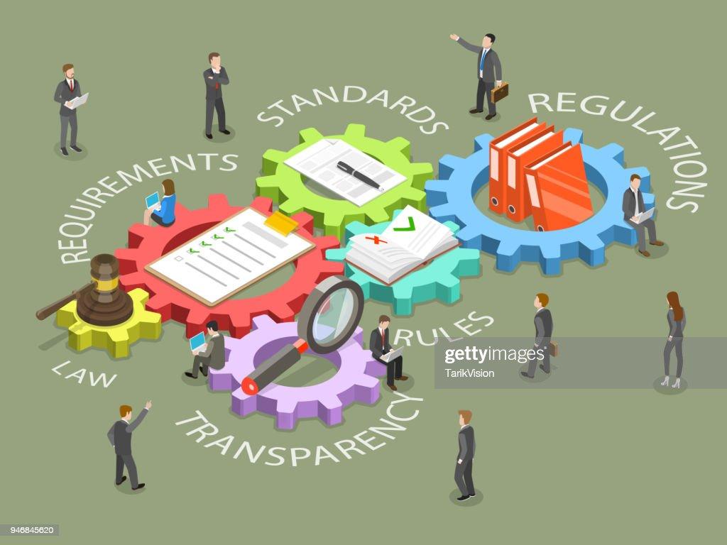 Regulatory compliance flat isometric vector.