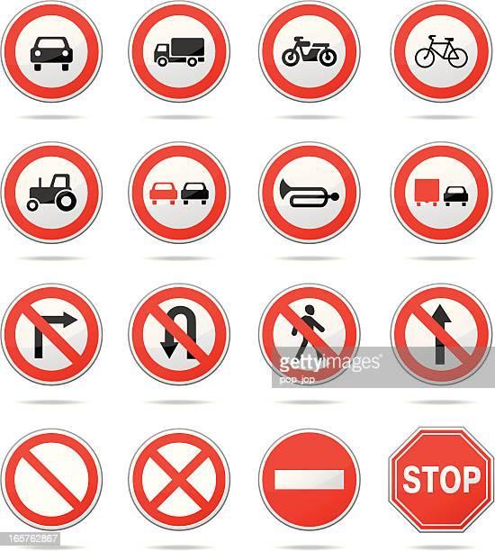 illustrations, cliparts, dessins animés et icônes de réglementation les panneaux - panneau sens interdit
