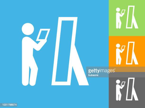 rehearse  flat icon on blue background - rehearsal stock illustrations