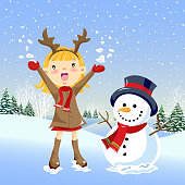 Reindeer child and snowman